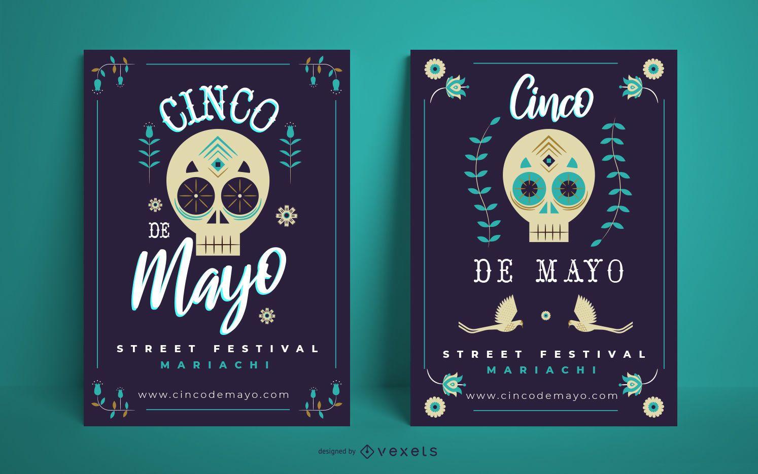 Cinco de mayo skull poster template