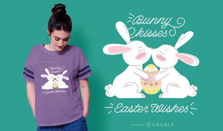 Diseño lindo de la camiseta de Pascua del beso del conejito
