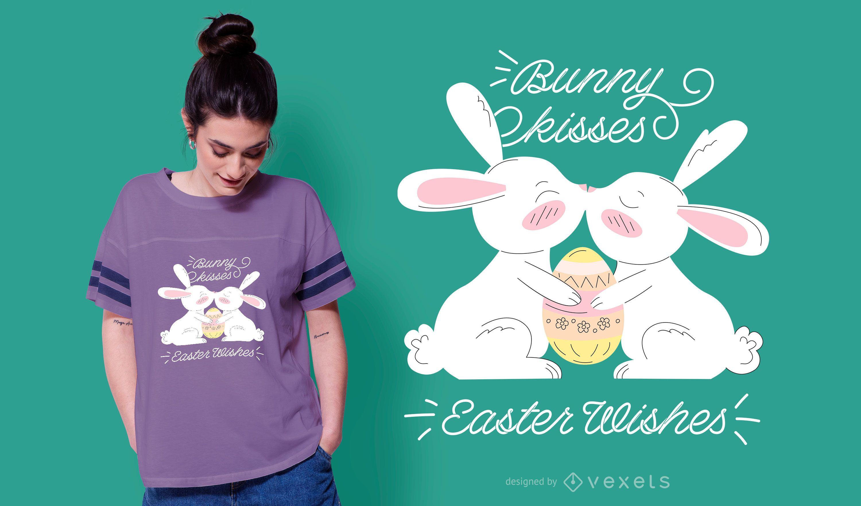 Dise?o de camiseta lindo conejito beso Pascua