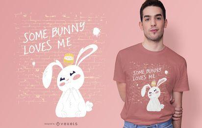 Diseño de camiseta de cita de amor de conejito de Pascua