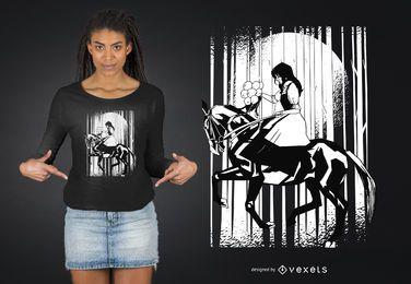 Design de t-shirt de mulher de equitação