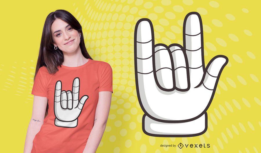 Rock hand t-shirt design