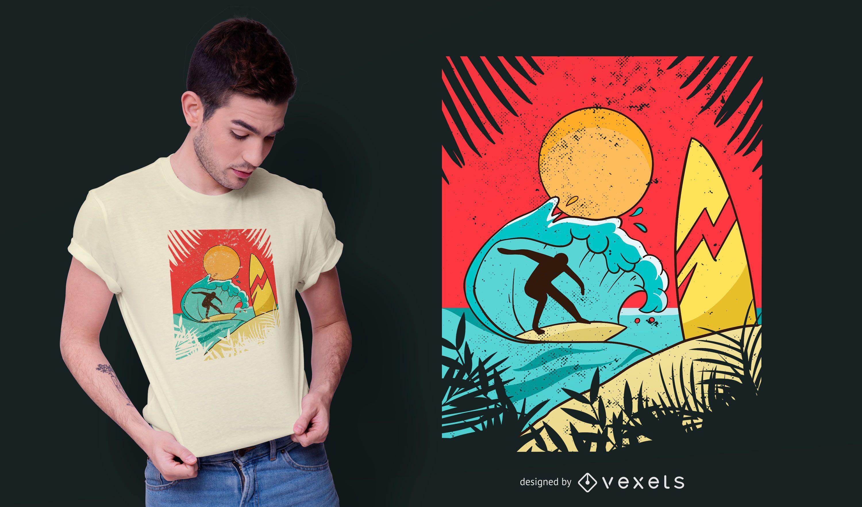 Diseño de camiseta de surfista de playa.