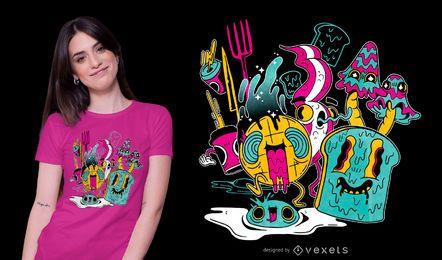 Psychedelisches Frühstückst-shirt Design