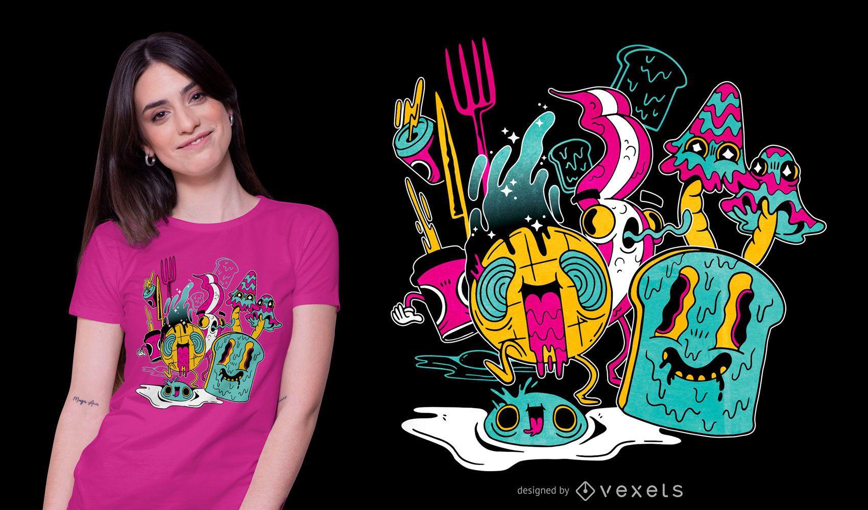 Diseño de camiseta de desayuno psicodélico.