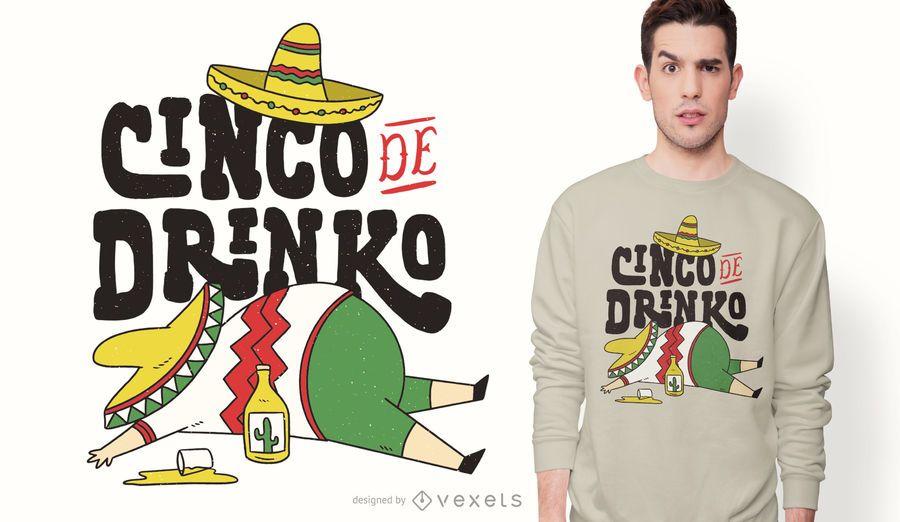 Diseño de camiseta divertida del cinco de mayo.