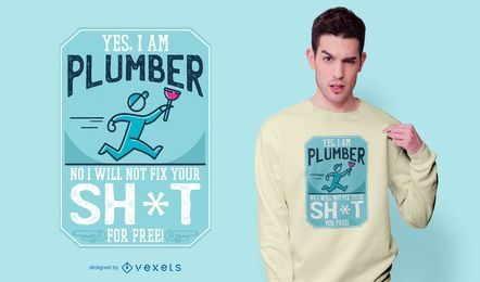 Diseño divertido de la camiseta de la cita del fontanero