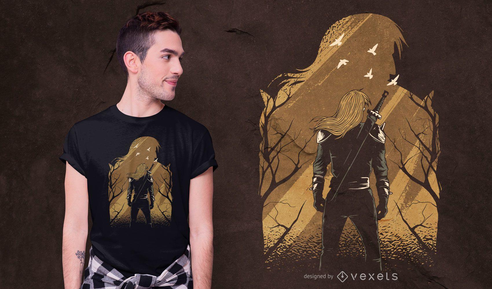 Guerreiro com design de camiseta de silhueta