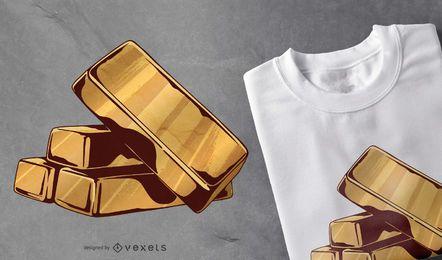 Diseño de camiseta con barras de oro.