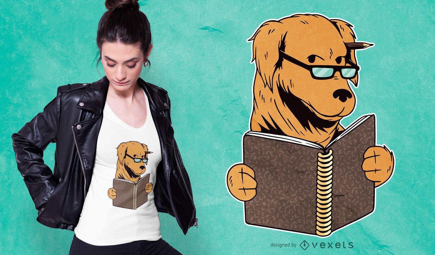 Studying dog t-shirt design