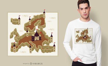 Design de t-shirt da fortaleza da Europa