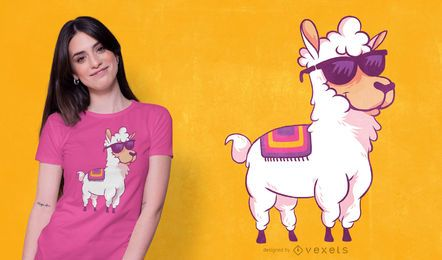 Cartoon llama t-shirt design