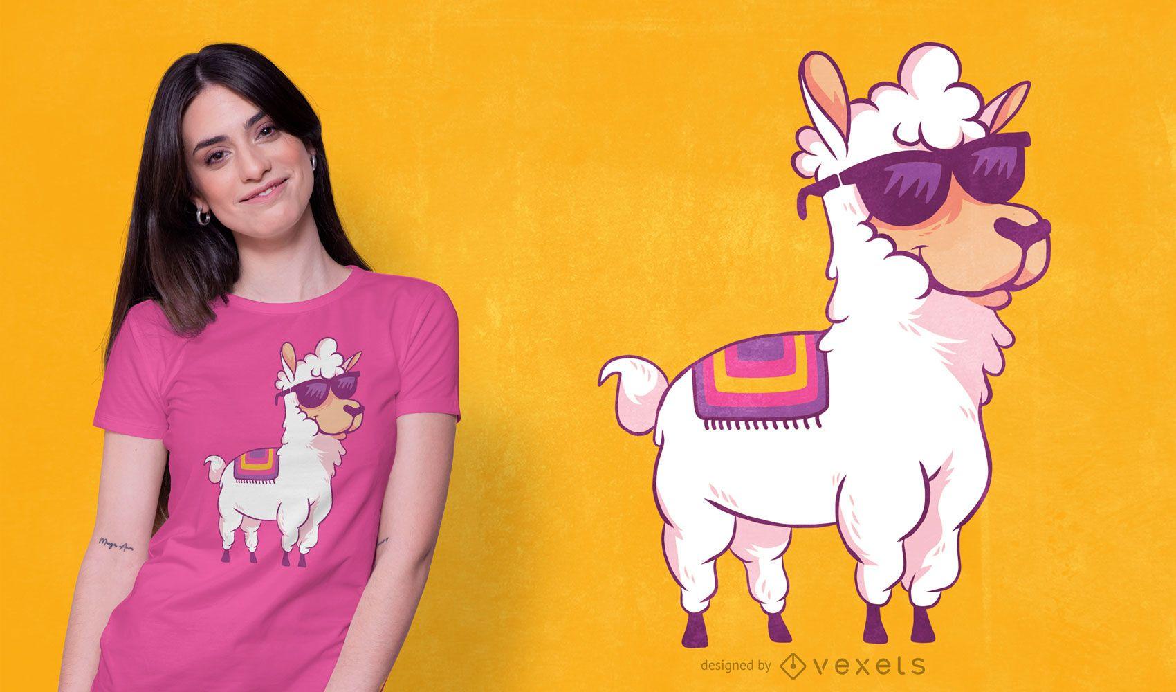 Cartoon llama t-shirt design