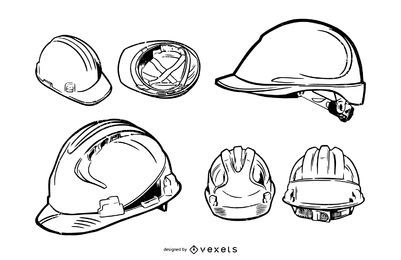 Construction Hard Hat Stroke Illustration Pack