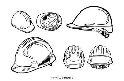 Paquete de ilustración de trazo de casco de construcción