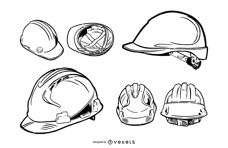 Construction Hard Hat Stroke Illustration Pack