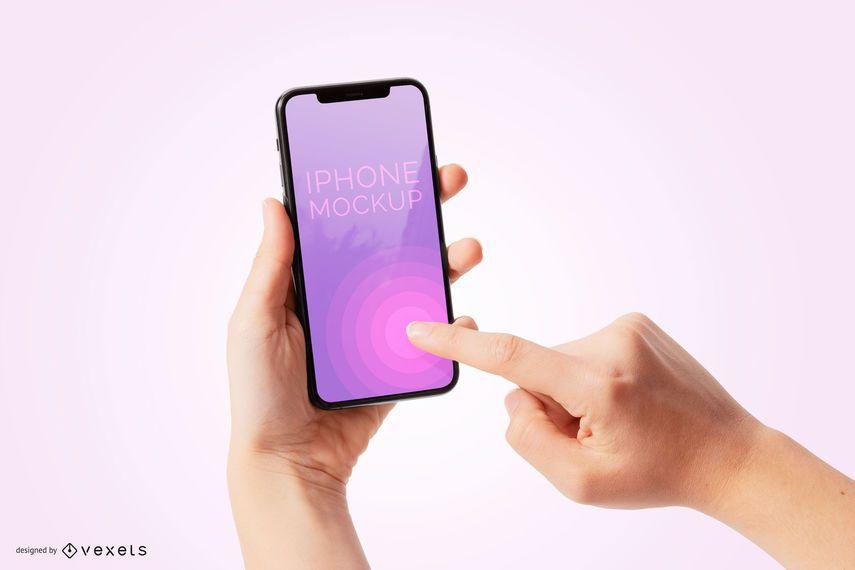 Person die iPhone 11 Mockup verwendet
