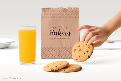 Design de maquete de saco de papel de padaria