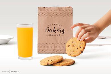 Diseño de maqueta de bolsa de papel de panadería