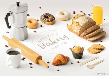Composición de maqueta de elementos isométricos de panadería