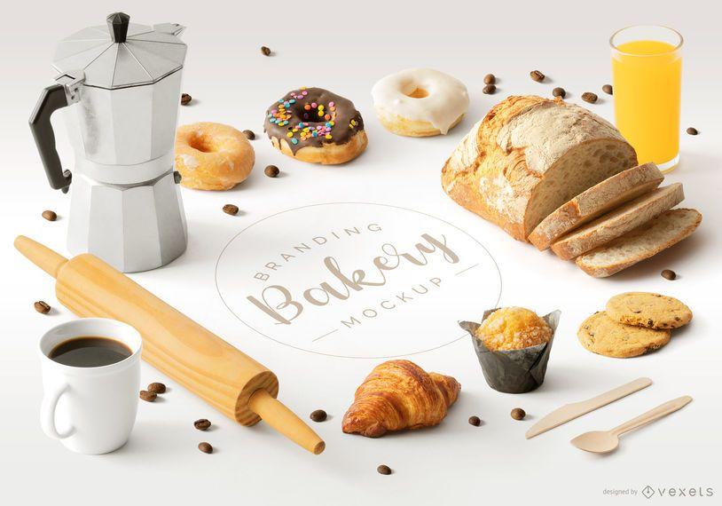 Bakery Isometric Elements Mockup Composition