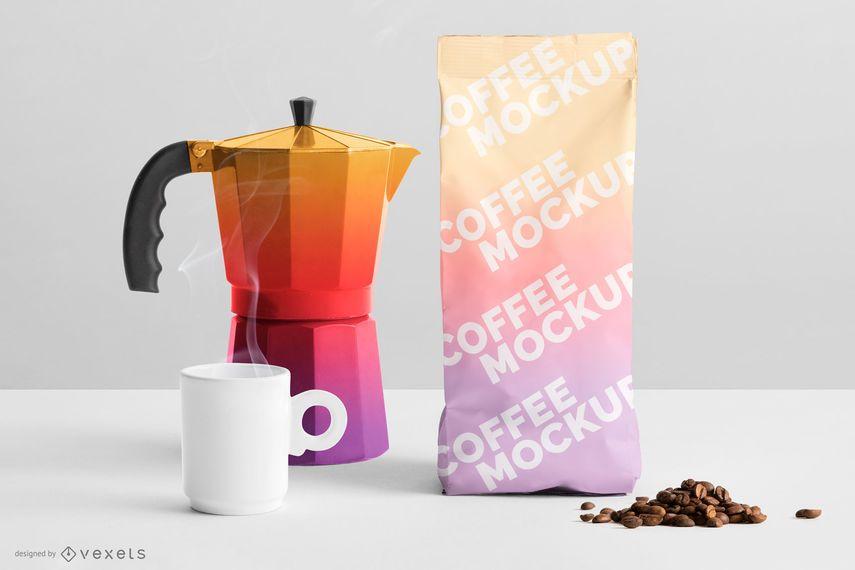 Gradient Coffee Packaging Mockup