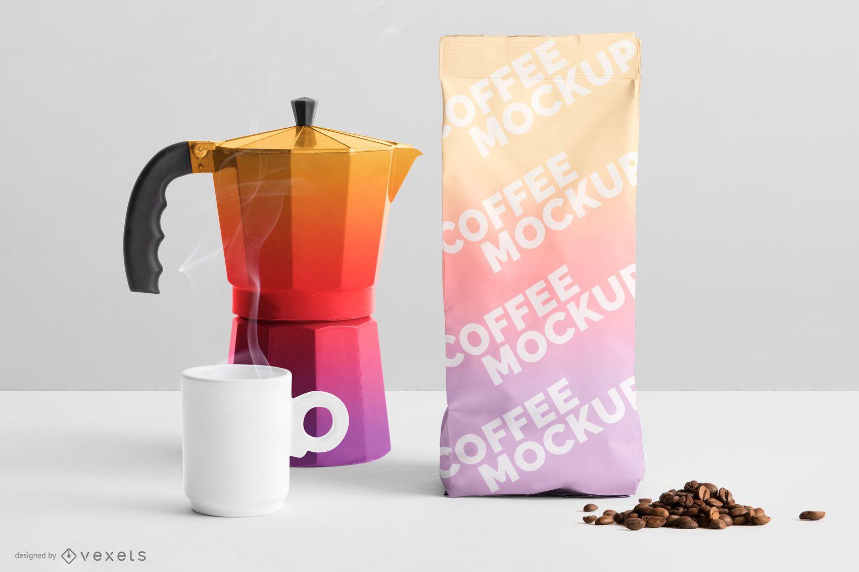 Maqueta de empaquetado de café degradado