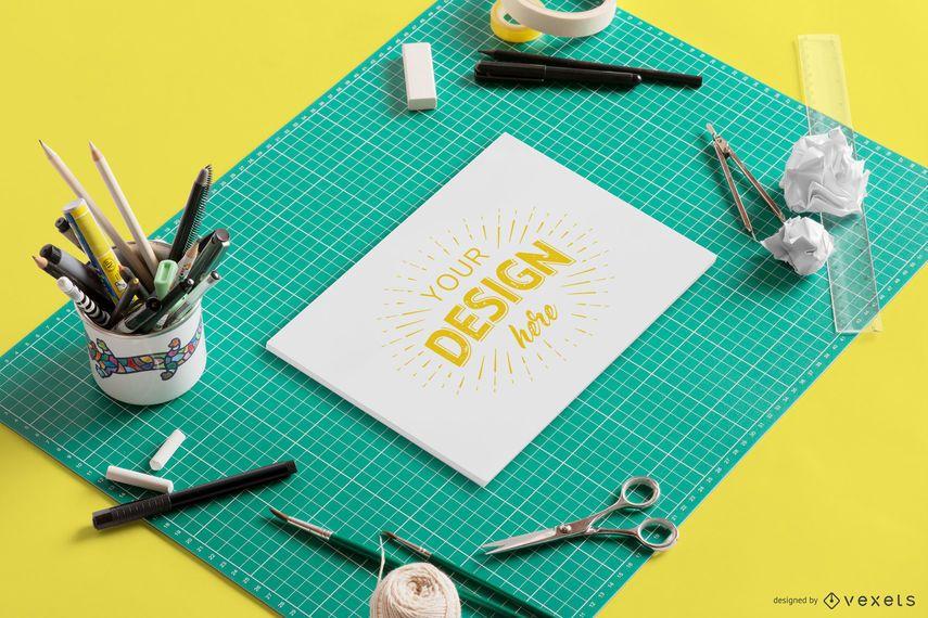 Composição de maquete de elaboração de papel