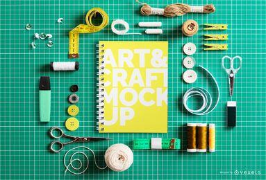 Mockup de capa de caderno de elementos de artesanato
