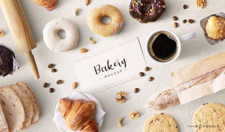 Maqueta de composición de tarjeta de visita de panadería