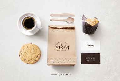 Bakery Paper Bag and Stationery Mockup Design
