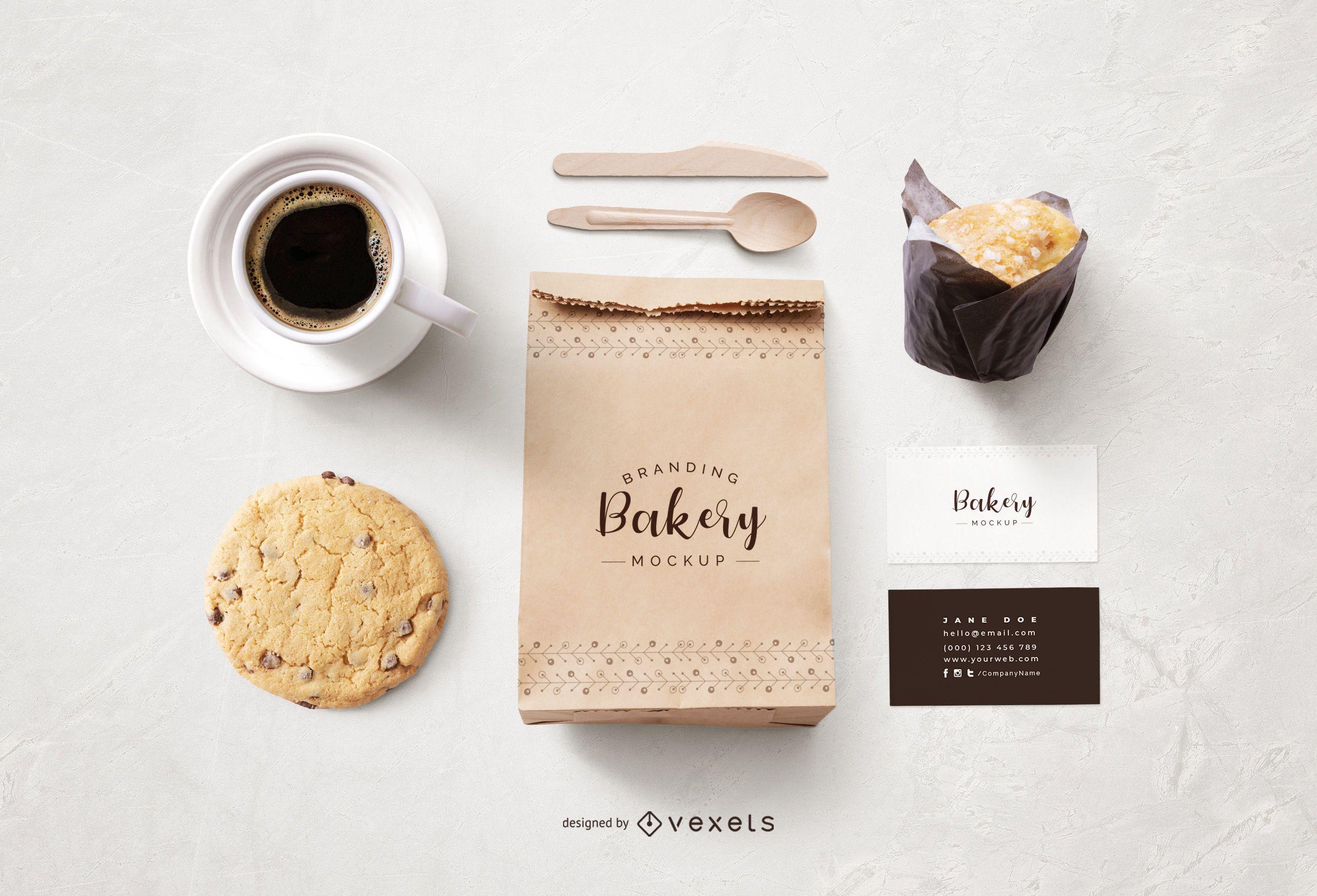 Diseño de maqueta de papelería y bolsa de papel de panadería