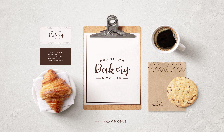 Composición de maqueta de elementos de negocio de panadería