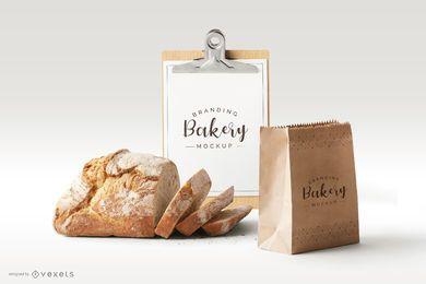 Maqueta de elementos de negocio de pan de panadería