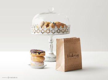 Maqueta de composición de objetos de panadería