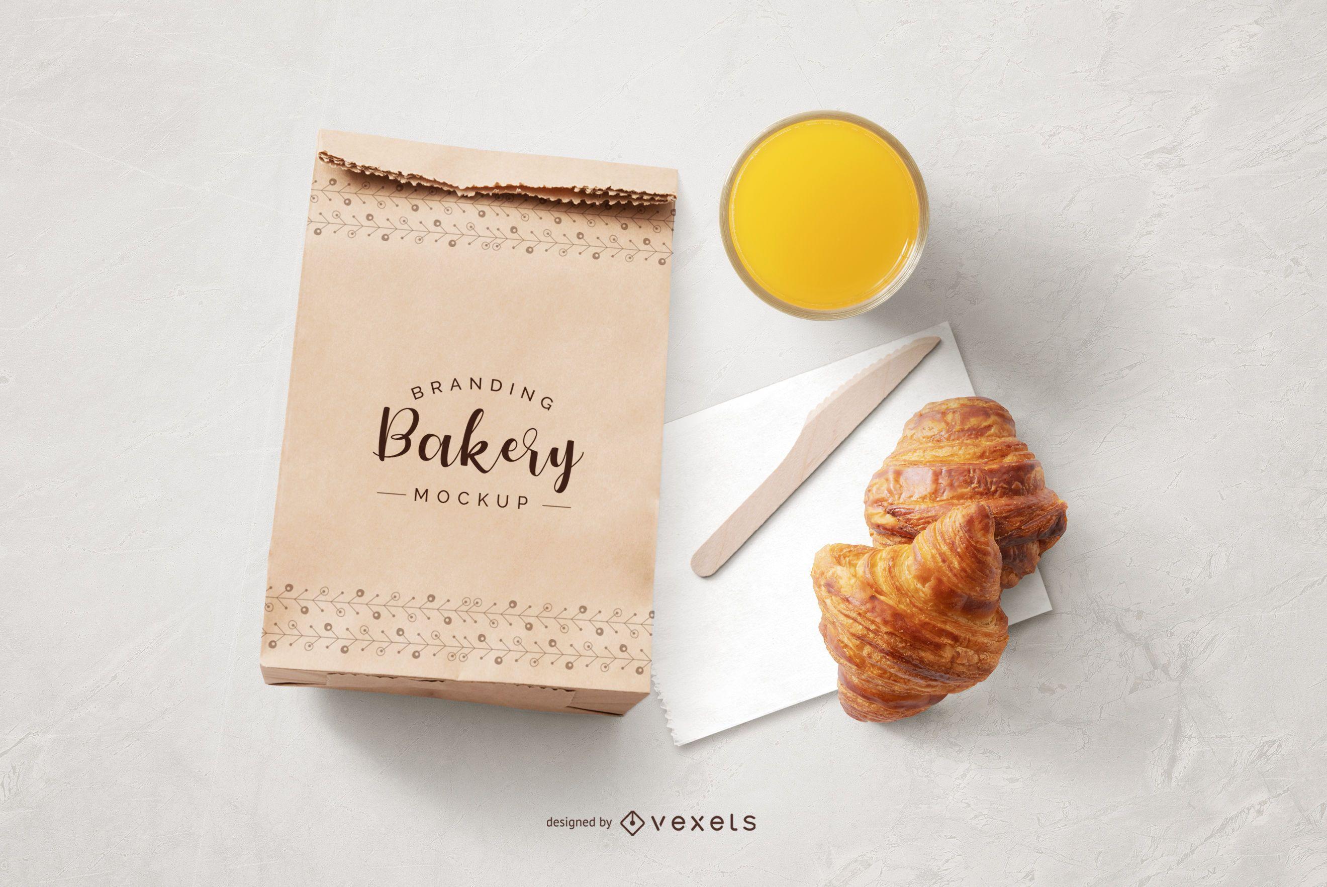 Maqueta de composición de alimentos de bolsa de papel de panadería