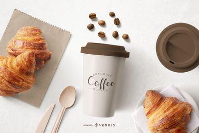 Maqueta de composición de objetos de taza de café