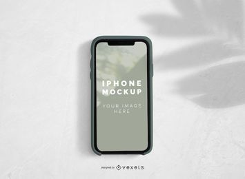 iPhone Bildschirm mit Palm Shadow Mockup Design