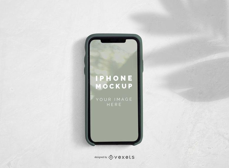 tela do iPhone com design de maquete de sombra de palma