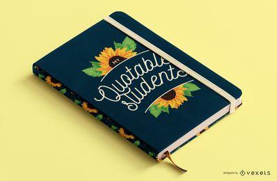 Design de capa de livro de citações de girassol