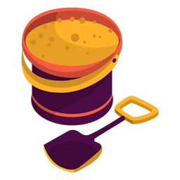 Bucket filled with sand