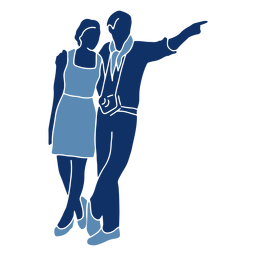 Silhueta de turistas casal