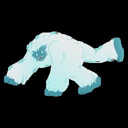 Vista lateral del yeti agachado