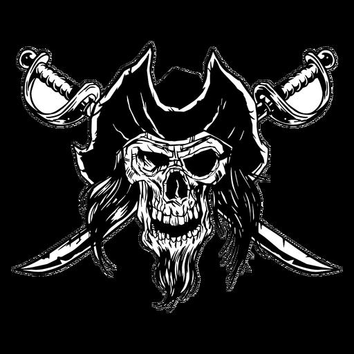 Crânio de pirata desenhado