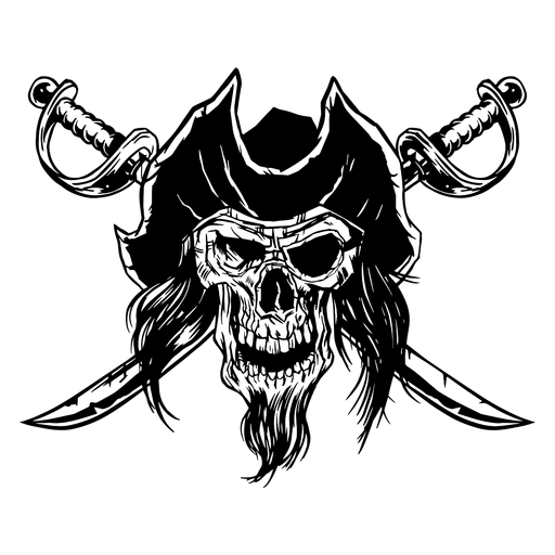 Drawn pirate skull Transparent PNG