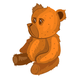 Ilustración de oso de peluche lateral
