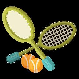Raquete e bolas de tênis