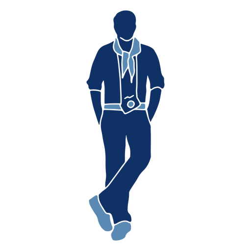 Tourist pose silhouette Transparent PNG