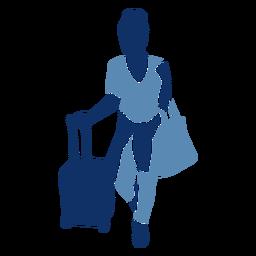 Turista con silueta de bolsos