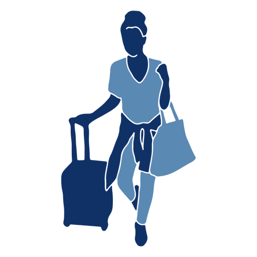 Tourist with bags silhouette Transparent PNG